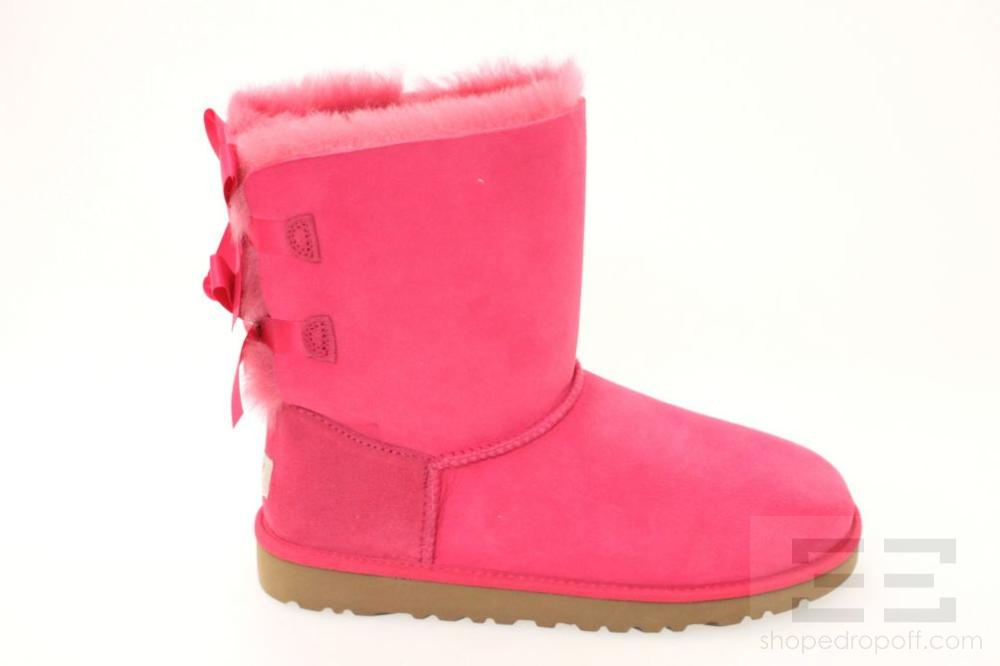 Ugg Hot Pink K Bailey Bow Shearling Boots Size 6 NEW | eBay Uggs Boots Hot Pink