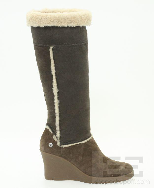 ugg brown shearling wedge knee high boots size 6 ebay