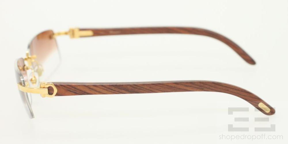 Cartier Glasses Wood Frame : Cartier C Decor Golden Rimless Eyeglasses Engraved Wood ...