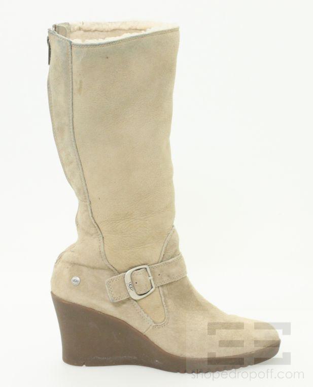 ugg beige suede shearling wedge heel boots size 8 ebay
