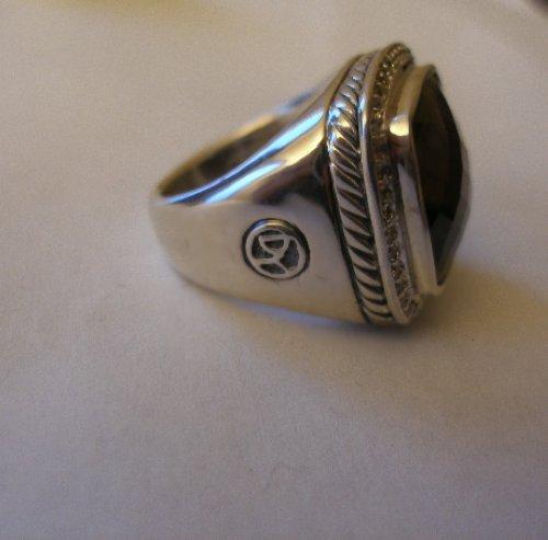 15mm David Yurman Albion Diamond Ring Smoky Quartz Pave