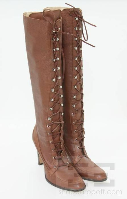 michael kors brown leather lace up knee high boots size 9