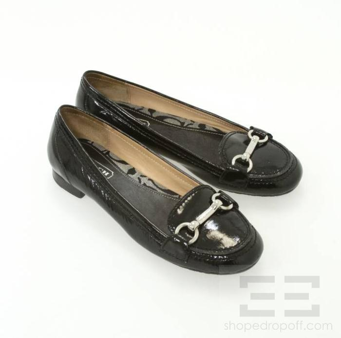 Coach Black Patent Leather And Silver Buckle Cora Loafers ...