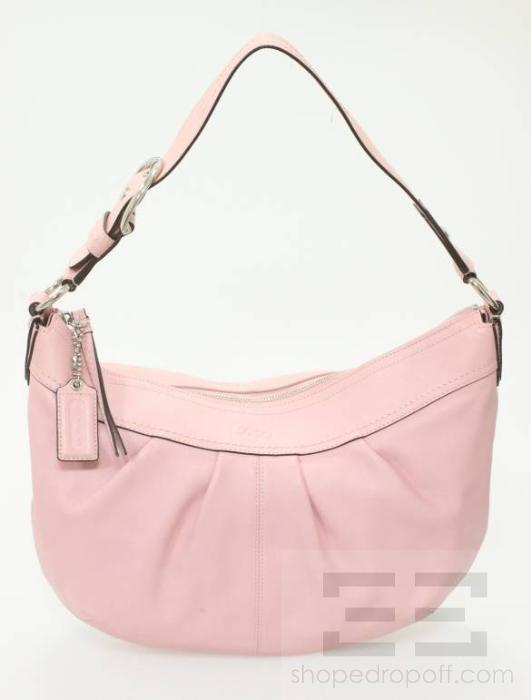 coach light pink leather and silver detail hobo bag ebay. Black Bedroom Furniture Sets. Home Design Ideas