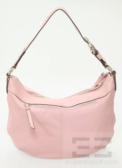coach light pink leather and silver detail hobo bag. Black Bedroom Furniture Sets. Home Design Ideas