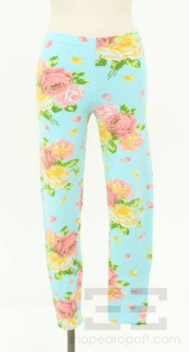 Kenzo-Jungle-Blue-Pink-Yellow-Floral-Print-Leggings-Size-Medium
