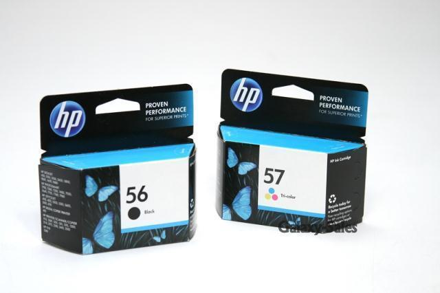 hp 56 57 ink cartridge c6656an c6657an set of 2 sealed genuine oem ebay. Black Bedroom Furniture Sets. Home Design Ideas