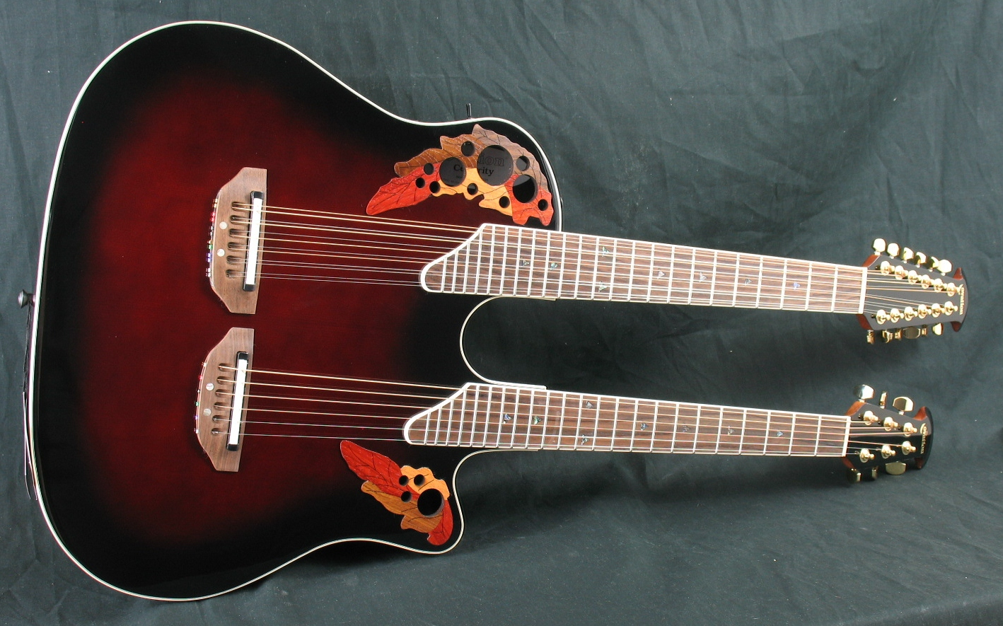 ovation celebrity cse225 doubleneck 6 12 string acoustic electric guitar w case ebay. Black Bedroom Furniture Sets. Home Design Ideas
