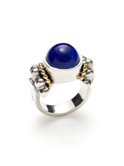 Lagos Lapis Caviar Ring Sterling Silver 18k Gold Ebay