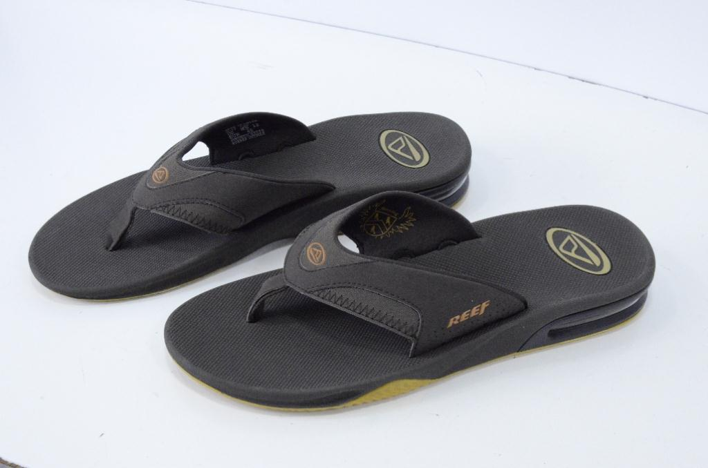 us 12 eu 45 new reef fanning mens brown flip flop sandals bottle opener sole ebay. Black Bedroom Furniture Sets. Home Design Ideas