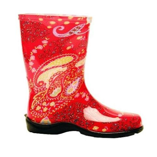 Sloggers printed garden boots womens rainboots paisley red for Garden boots for women