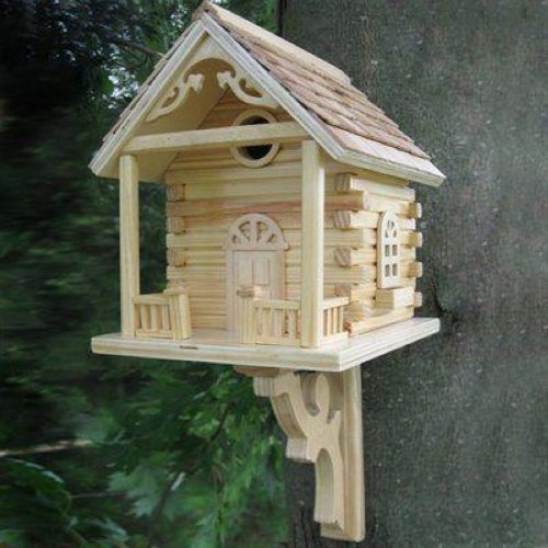 Home Bazaar Natural Cabin Birdhouse Decorative Bird Houses