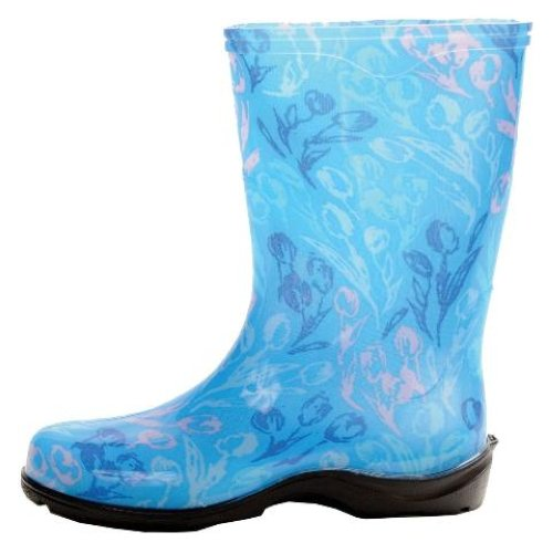 Sloggers tulip blue printed garden boots rain boots womens for Garden boots for women