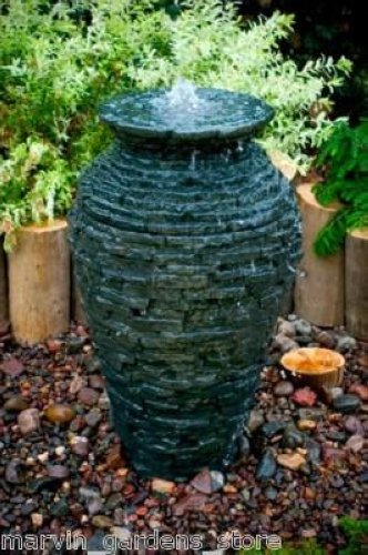 Stacked slate urn small decorative water fountain kit ebay - Small outdoor water fountain ...