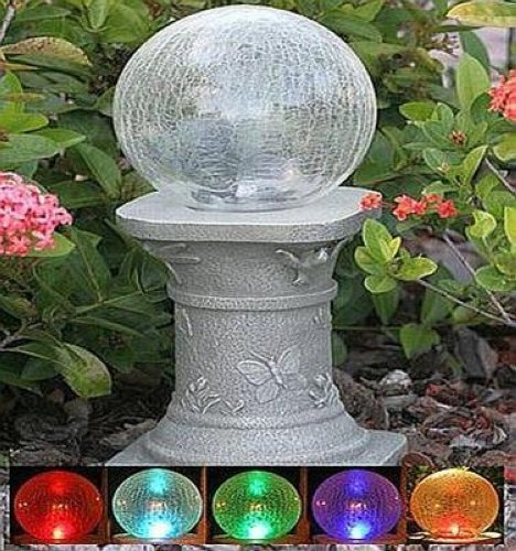 Perfect SOLAR GAZING BALL CHAMELEON CRACKLED GLASS SOLAR GAZING BALL U0026 STAND | EBay