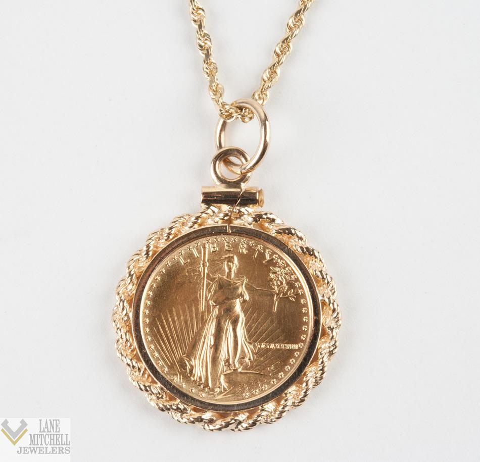 $5 Five Dollar Walking Liberty Gold Coin Pendant W/ 24