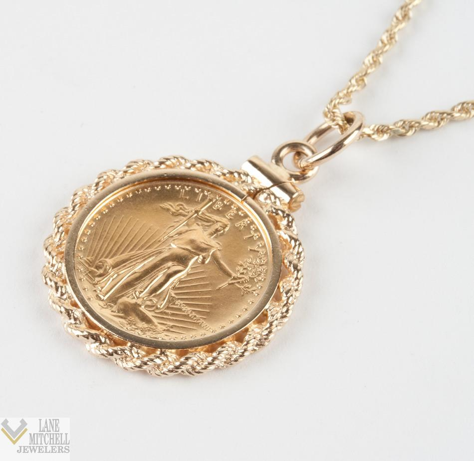 5 Five Dollar Walking Liberty Gold Coin Pendant W 24