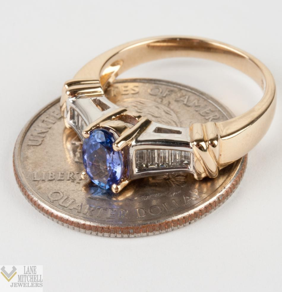 14k Yellow Amp White Gold Oval Cut Tanzanite Solitaire Ring