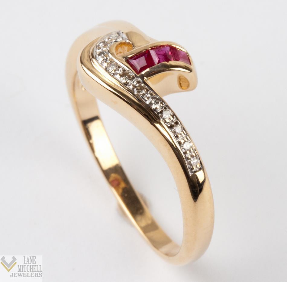 Ladies 14k Yellow Gold Diamond Amp Baguette Cut Ruby Ring