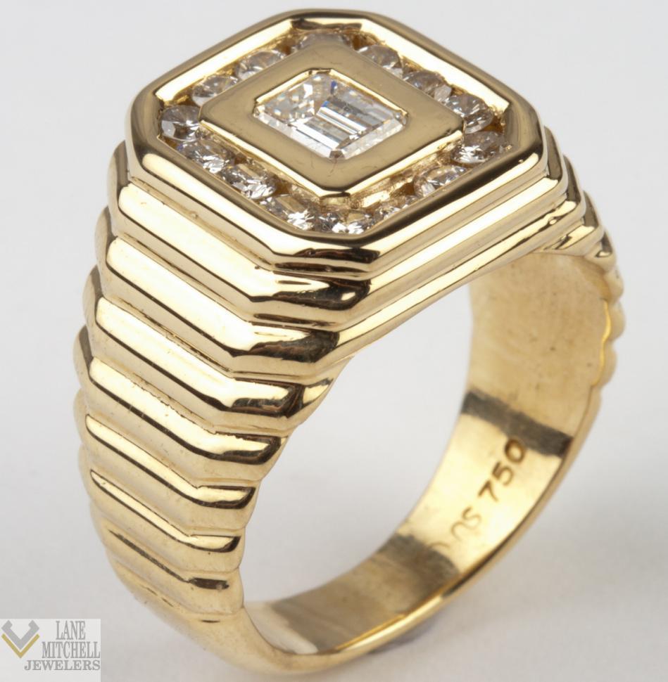 stunning men 39 s 18k yellow gold diamond fashion ring. Black Bedroom Furniture Sets. Home Design Ideas