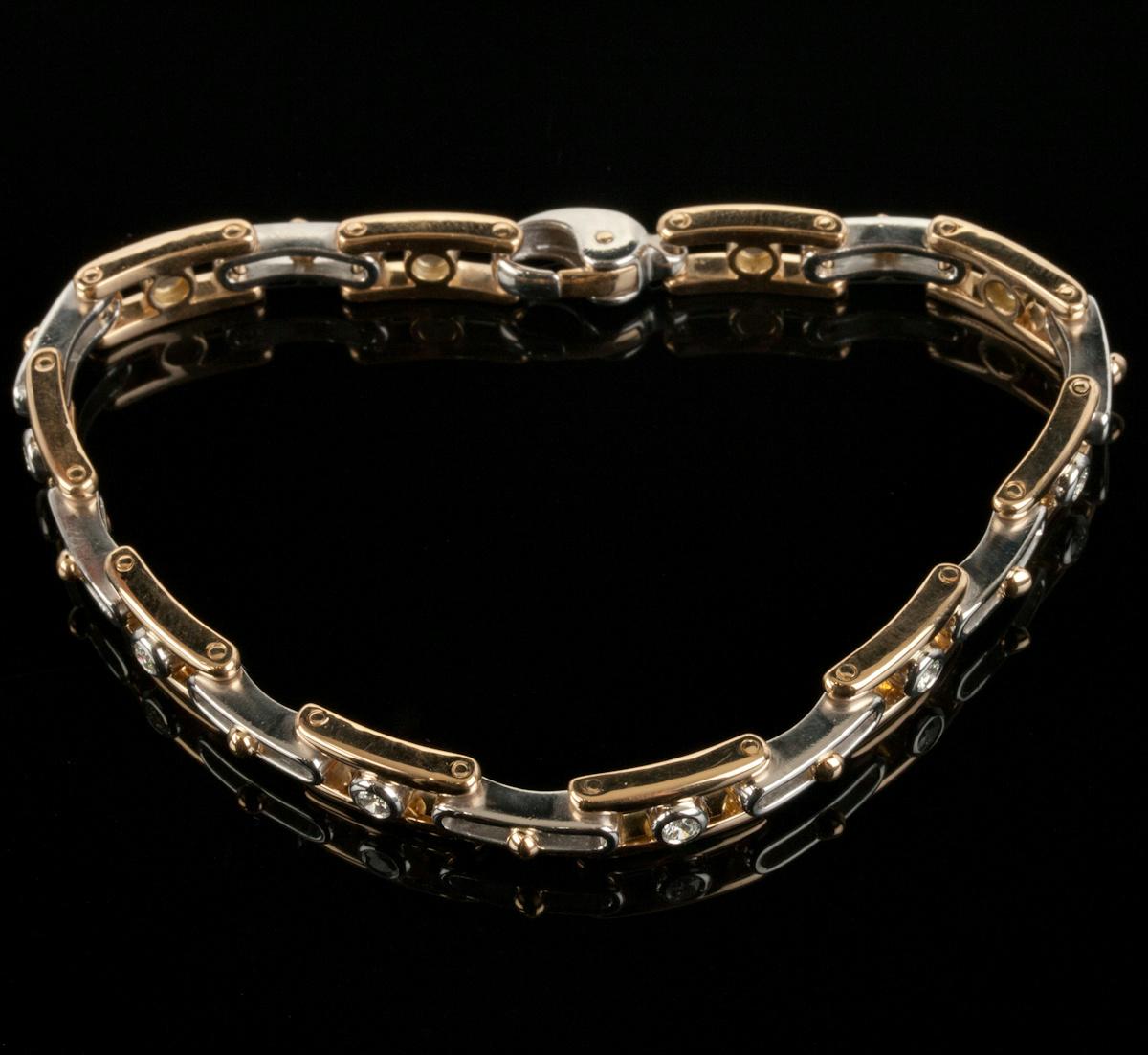 Men S Stunning 18k Yellow Gold Amp Platinum Diamond Link