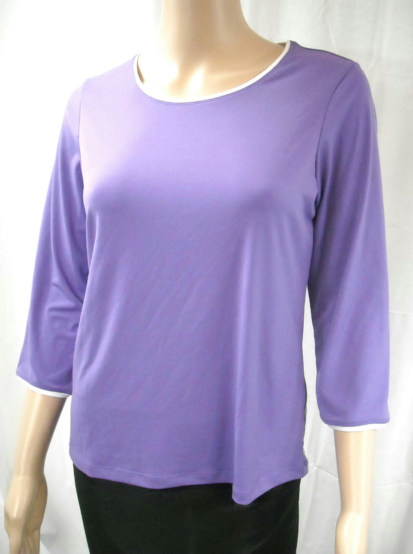 New susan graver liquid knit piped round neck 3 4 sleeve for 3 4 sleeve shirt template