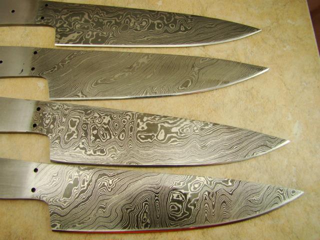 set of 4 large cooking damascus steak chef knife blanks 10 1 2 ck1 bwoset 4. Black Bedroom Furniture Sets. Home Design Ideas