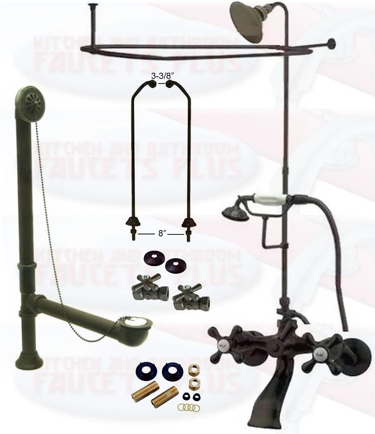 Oil Rubbed Bronze Clawfoot Tub Faucet Kit W/Shower Riser ...