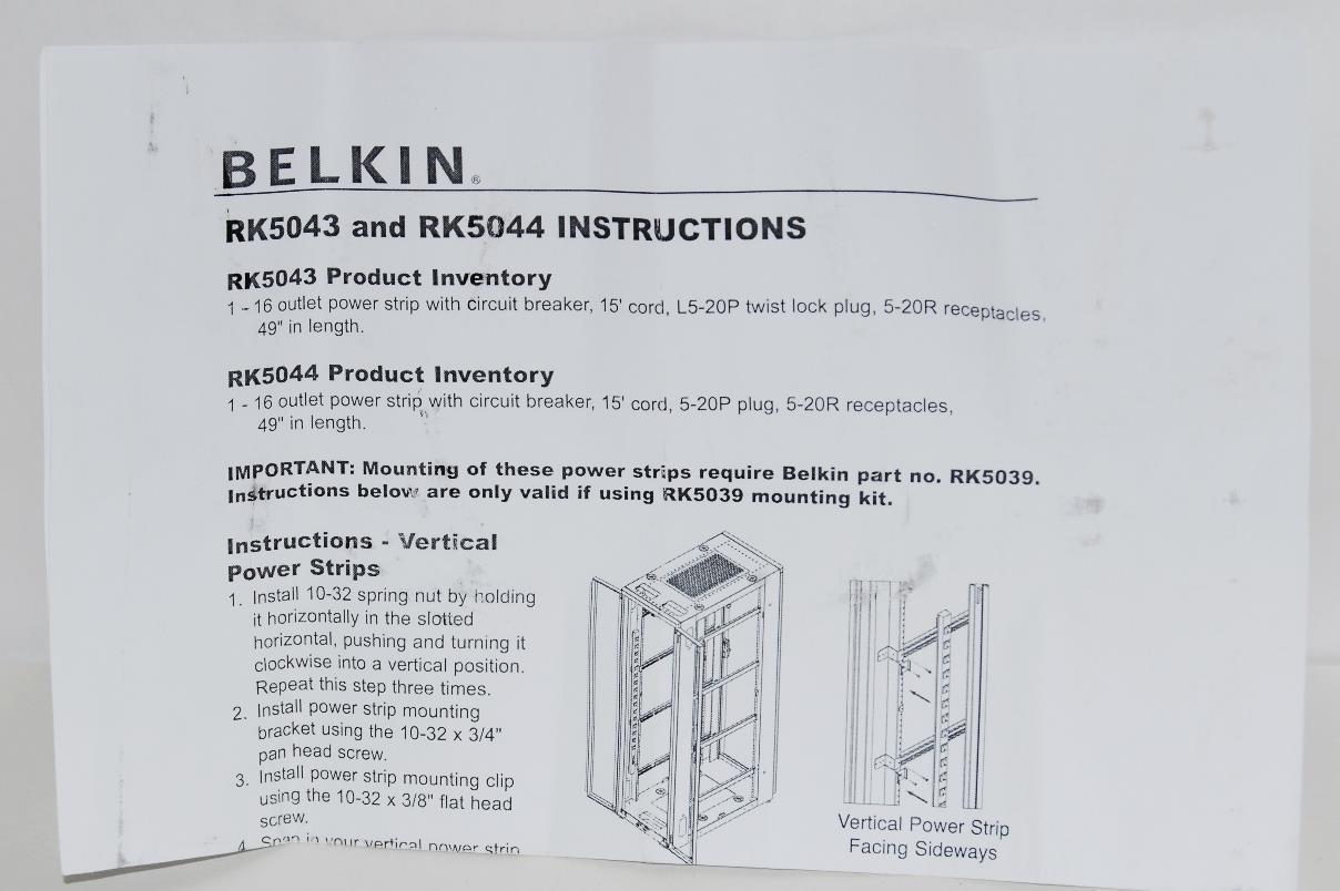 Belkin Rackmount Pdu 16 Outlets Unit 5 20r W 15 Cord Rk5044 L5 20p Wiring Diagram Manufacturer 800099191