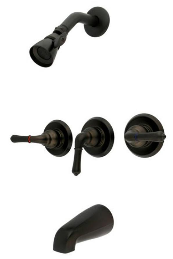 Oil Rubbed Bronze 3 Handle Combination Bathroom Tub & Shower ...