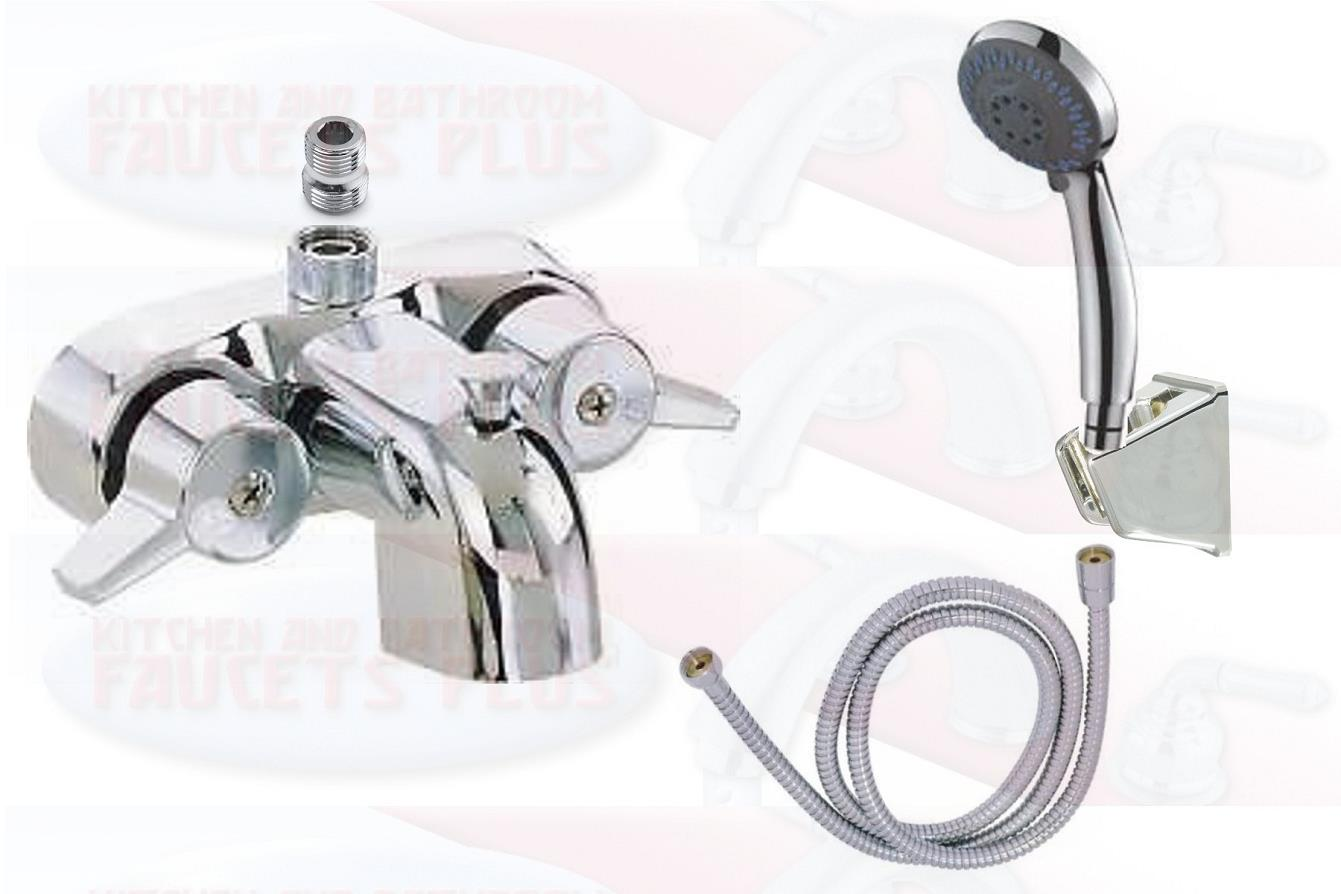 Details About Chrome Bathroom Add A Shower Clawfoot Tub Diverter Faucet Hand Shower Kit