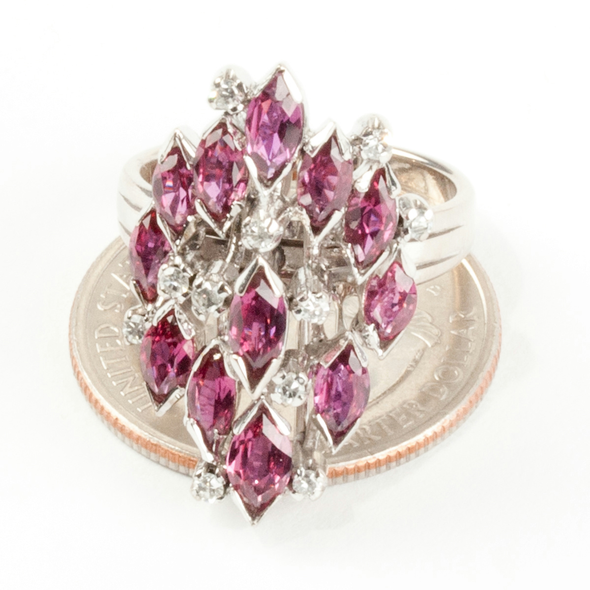 Ladies Vintage 1960 S 14k White Gold Ruby Amp Diamond