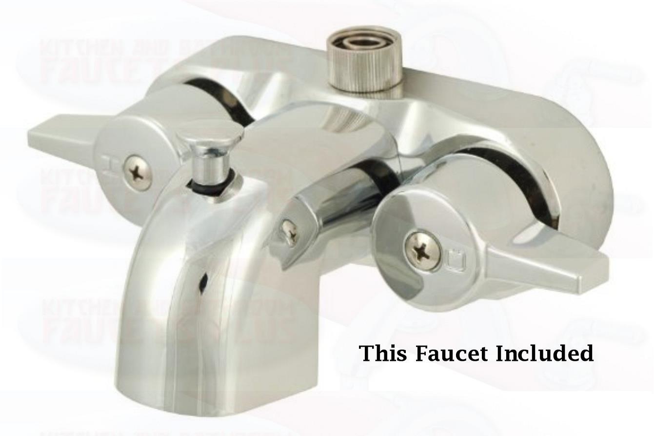 Attirant Chrome Clawfoot Tub Faucet Add A Shower Kit W/Curtain Rod, Drain U0026 Supplies  | EBay