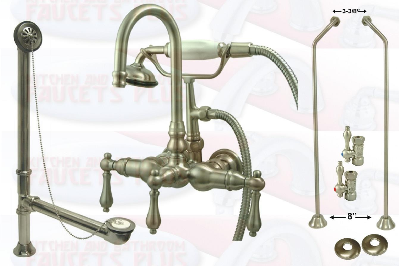 Satin Nickel Clawfoot Tub Faucet Kit With Drain Supplies Floor Stops