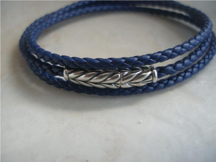 David Yurman Chevron Triple Wrap Blue Leather Bracelet