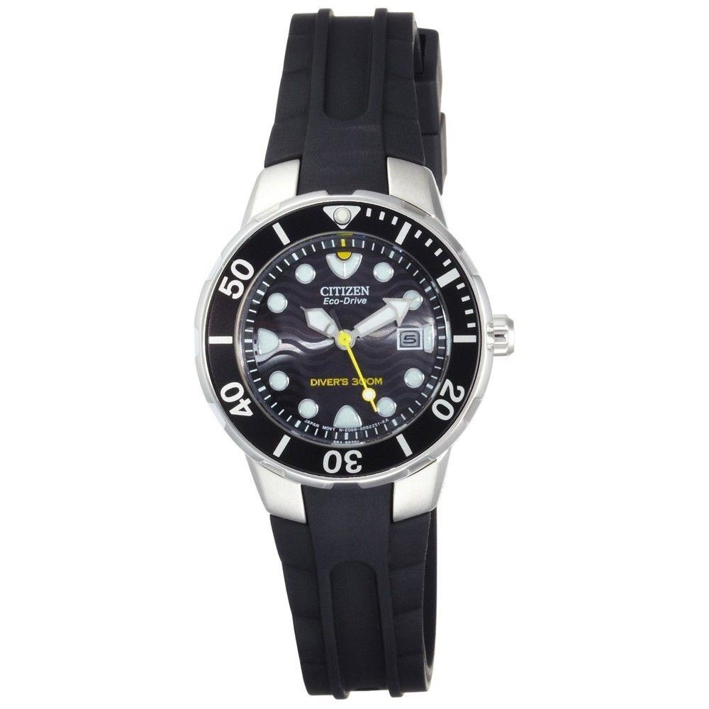 Citizen watch band ep6010 ladies 300m eco drive divers strap black resin ebay for Black resin ladies watch
