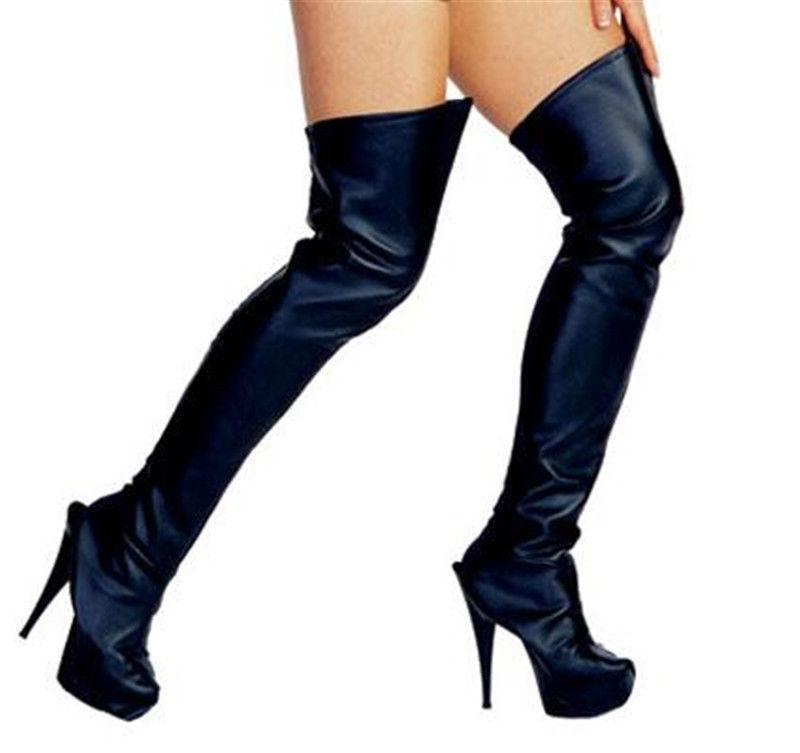 black thigh high leather look boot tops covers