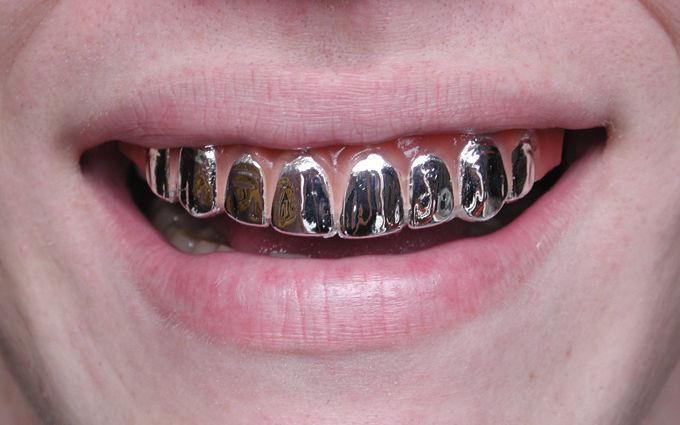 Chrome Hollywood Teeth Platinum Full Grill Fake Pimp | eBay