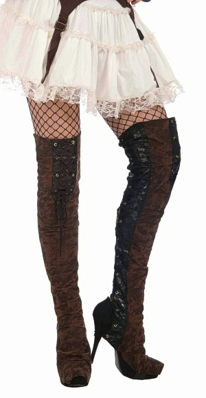 brown steunk thigh high boot covers ebay