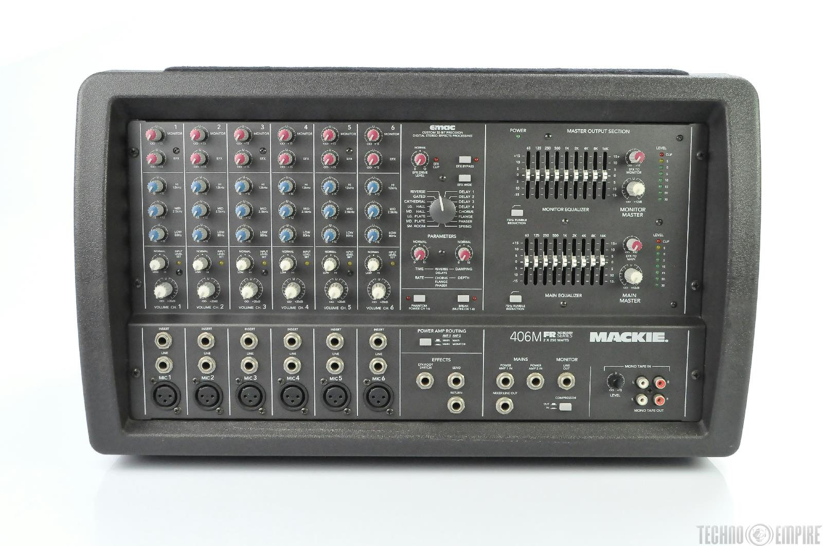 mackie ppm 406m 6 channel powered mixer 2x250w w built in effects w case 18810 ebay. Black Bedroom Furniture Sets. Home Design Ideas