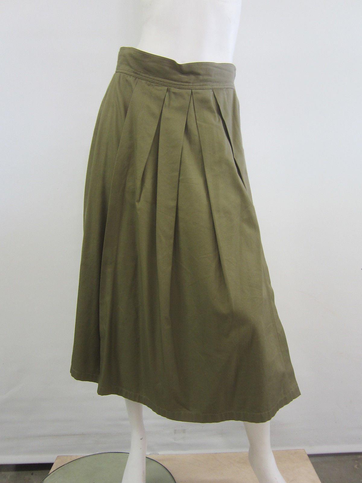 louis feraud s semi pleated skirt khaki 12 42 ebay
