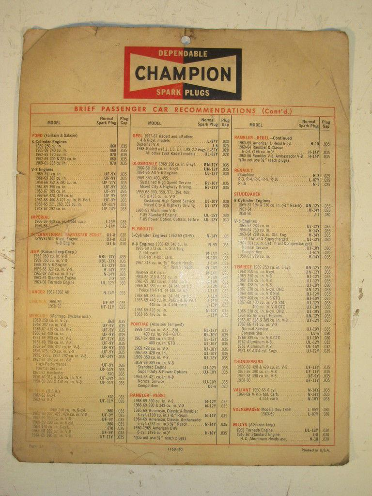 Used Chevy Spark >> VINTAGE CHAMPION SPARK PLUG REFERENCE SHEET FROM 1969 CHEVY 396 427 FORD 428 429 | eBay