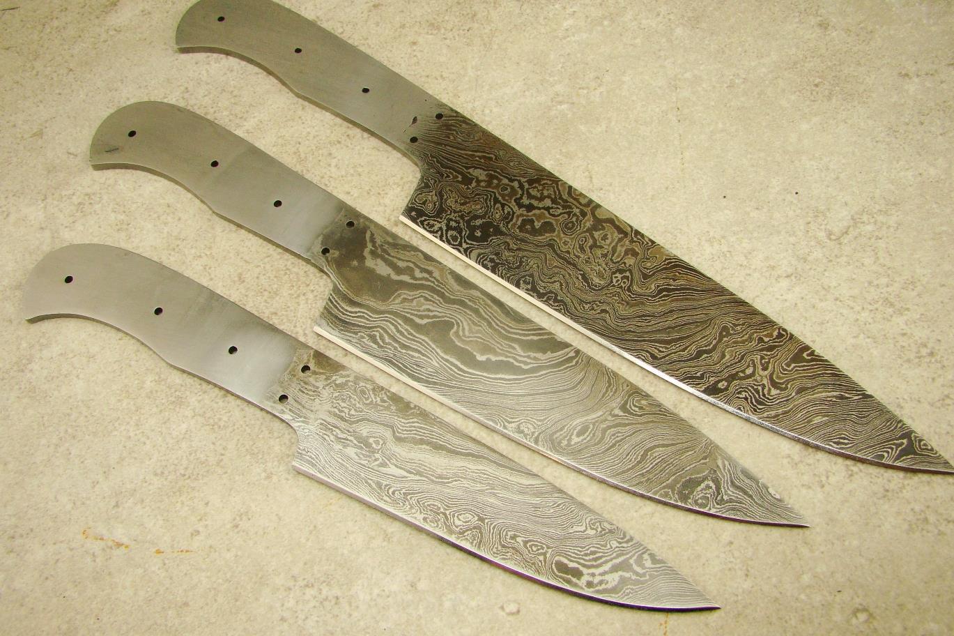 3pc professional chef knife set custom damascus blank knifemaking ckset 51 ebay. Black Bedroom Furniture Sets. Home Design Ideas