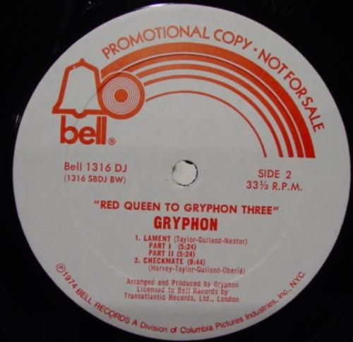 Gryphon Red Queen To Three Lp Vg Bell 1316 Vinyl 1974