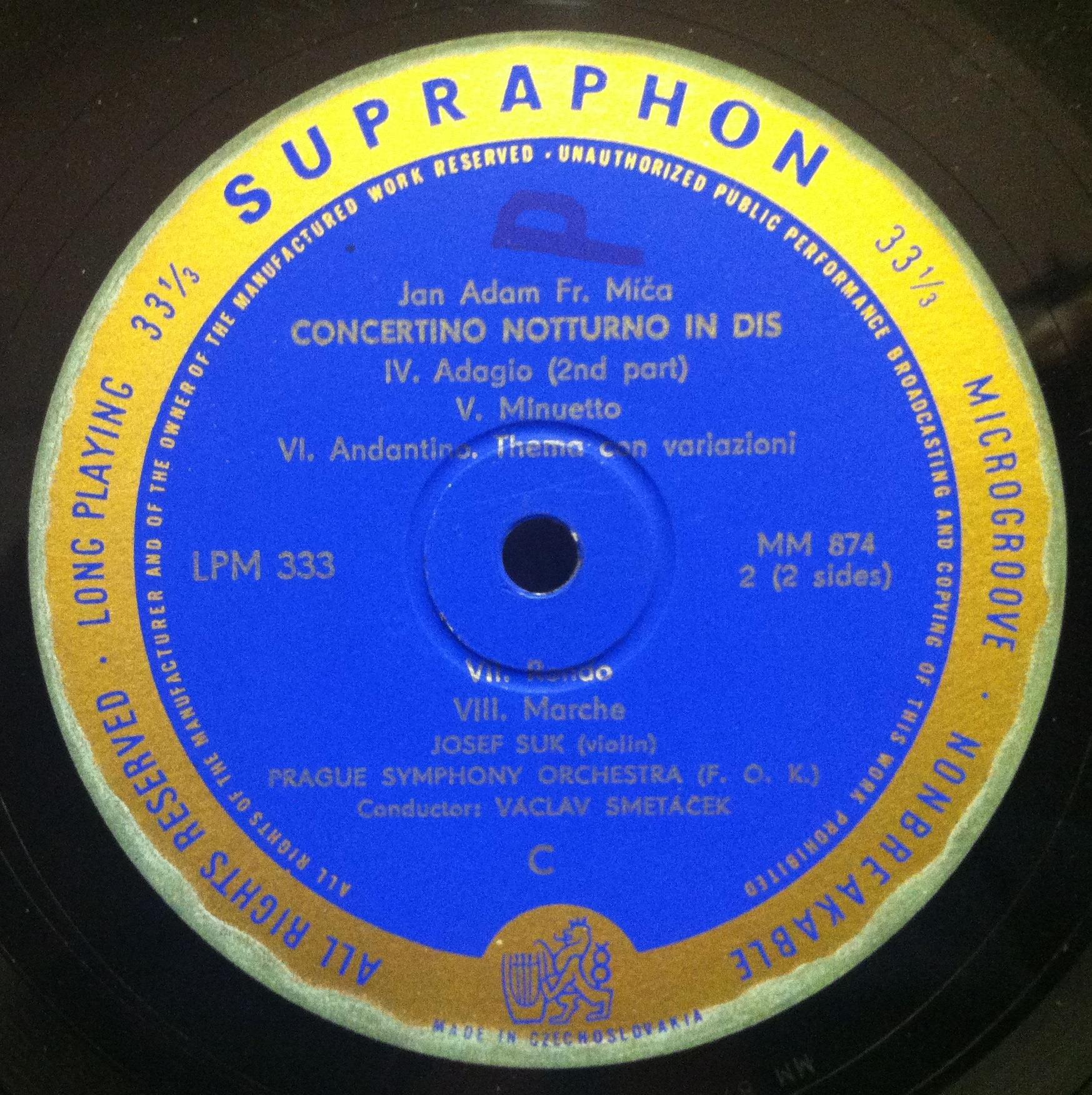 mica concertino notturno in dis 10 vg lpm 333 czech mono