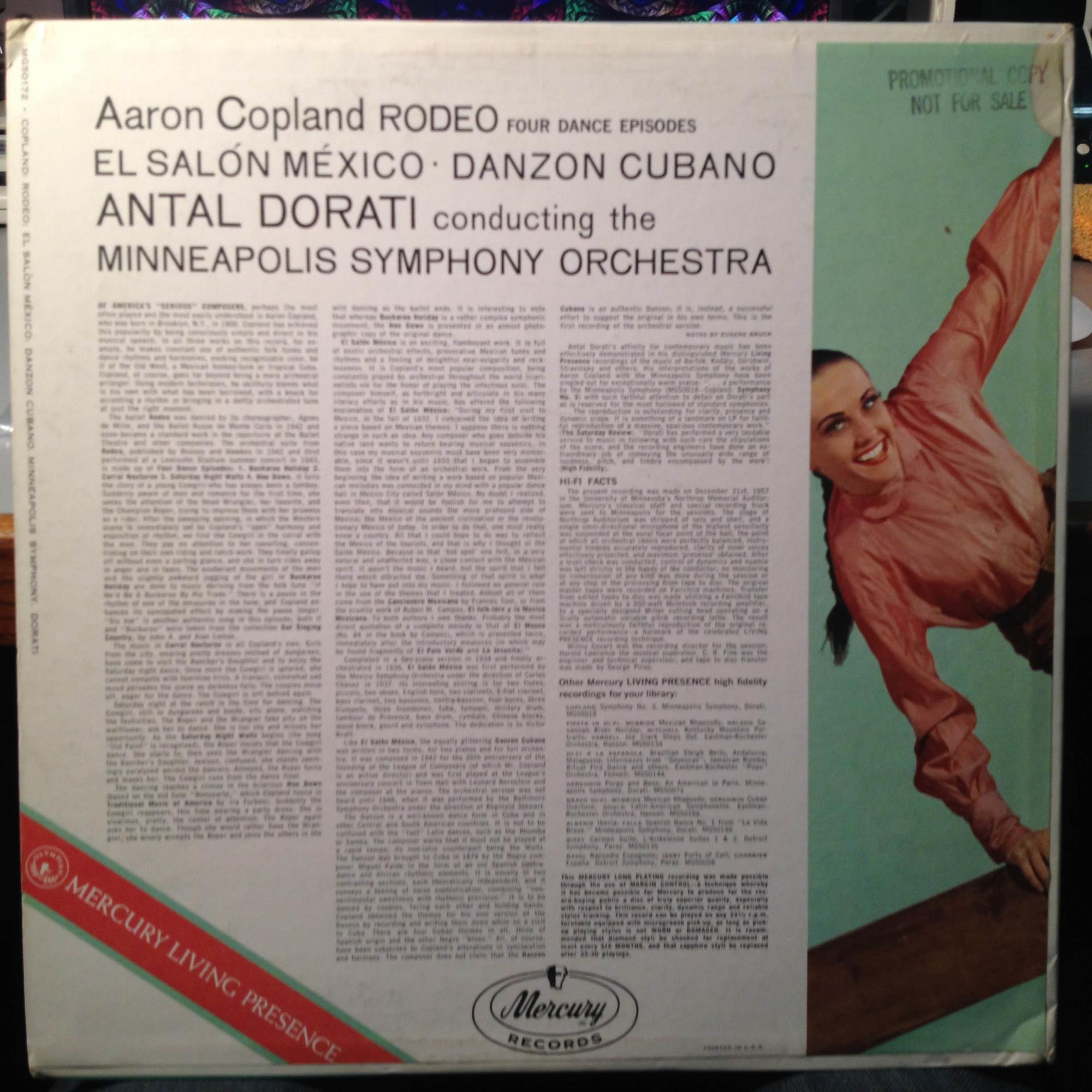 Antal dorati copland rodeo lp mint mg 50172 mercury mono for Aaron copland el salon mexico