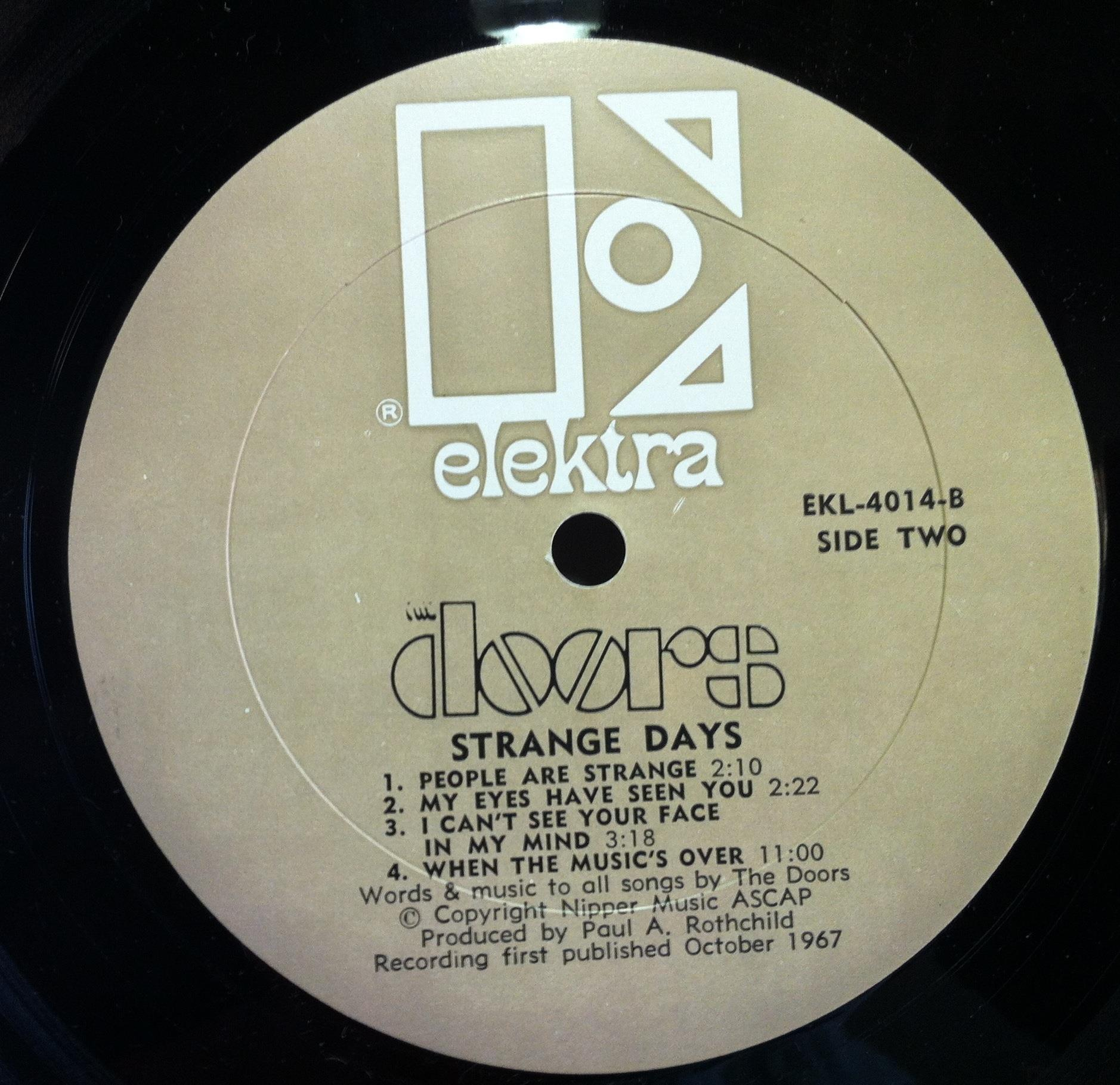 Actual item pictured not a stock photo. Click image(s) to enlarge. & 1967 THE DOORS strange days LP VG+ EKL-4014 Record Mispress Mono ... Pezcame.Com