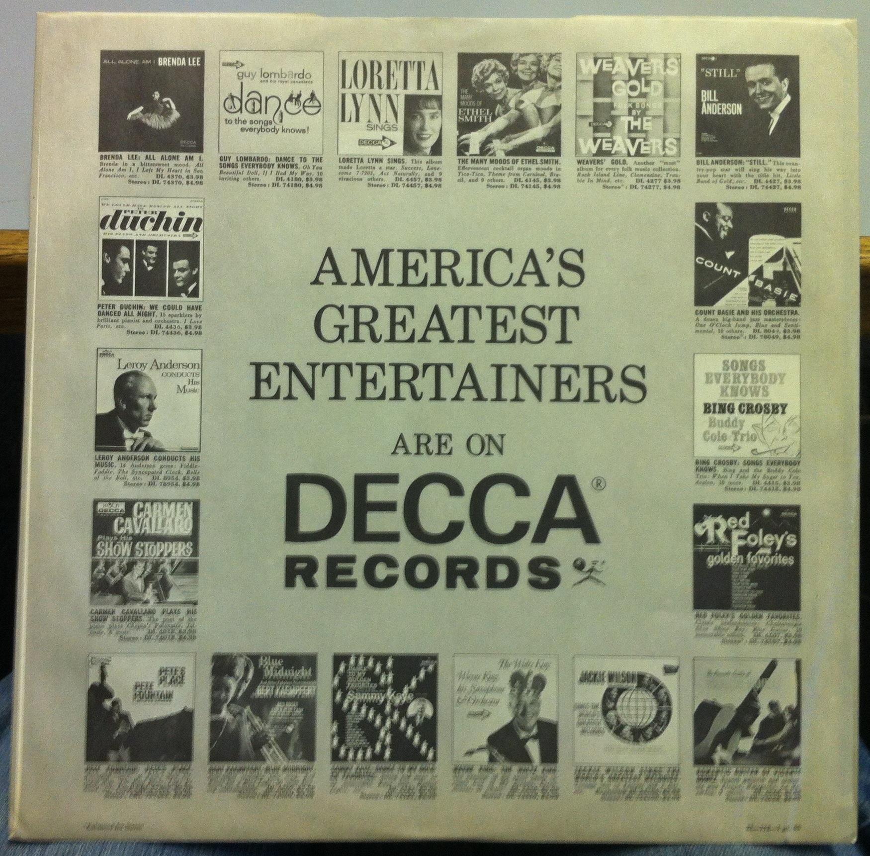 DECCA RECORDS USA Inner Sleeve Ad Rare Original US Mono