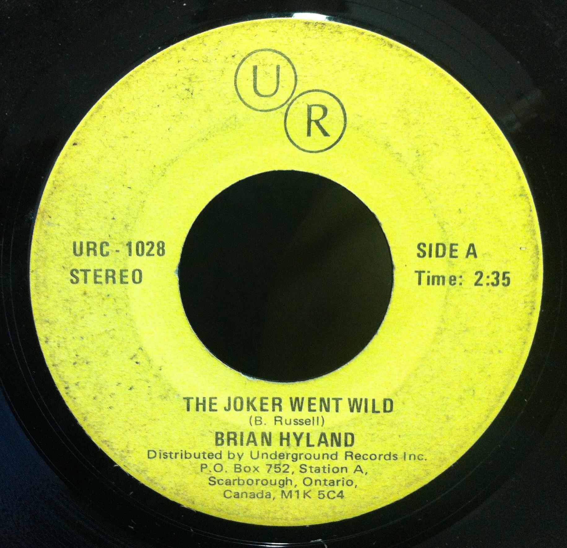 "Brian Hyland / Bobby Harris - Brian Hyland / Bobby Harris The Joker Went Wild / Mr. Success 7"" Vg Urc 1028 (the Joker Went Wi"