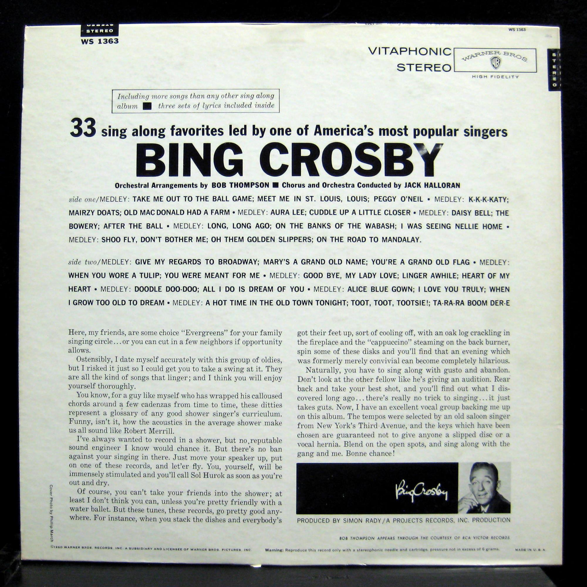 BING CROSBY join bing and sing along LP VG+ WS1363 Warner Gold Vinyl ...